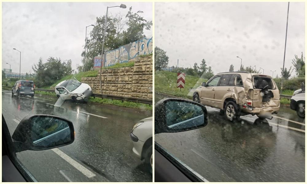 Na Drogowej Trasie Średnicowej doszło do kolizji dwóch samochodów osobowych